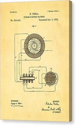 Tesla Electric Dynamo Patent Art 1888 Canvas Print