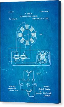 Tesla Electric Dynamo Patent Art 2 1888 Blueprint Canvas Print