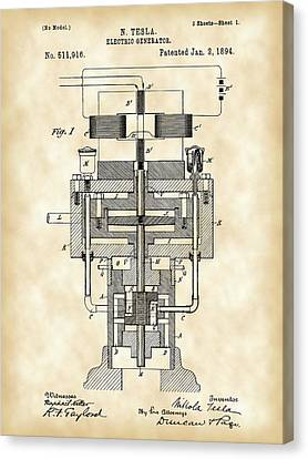 Horsepower Canvas Print - Tesla Electric Generator Patent 1894 - Vintage by Stephen Younts