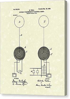 Transmission Canvas Print - Tesla Electrical System 1900 Patent Art by Prior Art Design