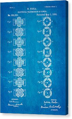 Tesla Electrical Transmission Of Power Patent Art 1888 Blueprint Canvas Print