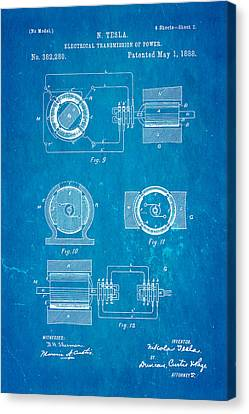 Tesla Electrical Transmission Of Power Patent Art 2 1888 Blueprint Canvas Print