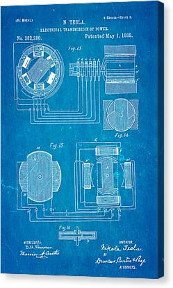 Tesla Electrical Transmission Of Power Patent Art 3 1888 Blueprint Canvas Print by Ian Monk