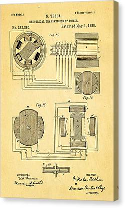 Tesla Electrical Transmission Of Power Patent Art 3 1888 Canvas Print