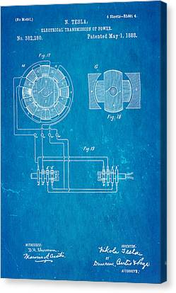 Tesla Electrical Transmission Of Power Patent Art 4 1888 Blueprint Canvas Print