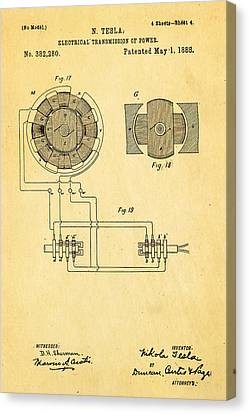 Tesla Electrical Transmission Of Power Patent Art 4 1888 Canvas Print by Ian Monk