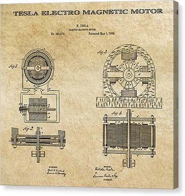 Tesla Electro Magnetic Motor Patent Art Aged 1888 Canvas Print