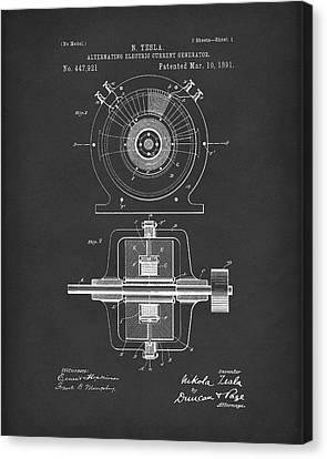 Tesla Generator 1891 Patent Art  Black Canvas Print by Prior Art Design