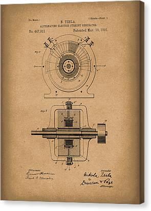 Tesla Generator 1891 Patent Art  Brown Canvas Print by Prior Art Design