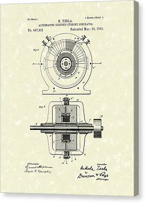 Tesla Generator 1891 Patent Art Canvas Print by Prior Art Design