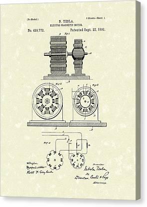 Tesla Motor 1891 Patent Art Canvas Print by Prior Art Design