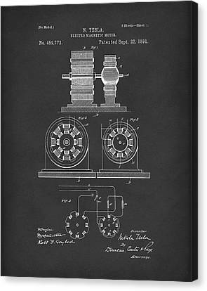 Tesla Motor Sept 1891 Patent Art Black Canvas Print by Prior Art Design