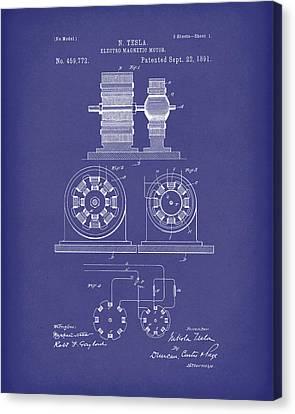 Tesla Motor Sept 1891 Patent Art Blue Canvas Print by Prior Art Design