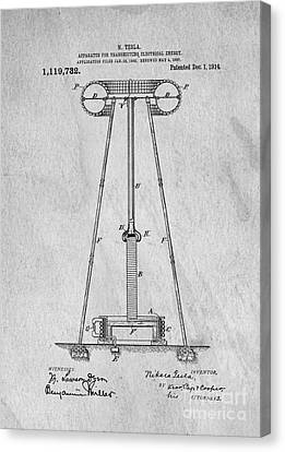 Tesla Patent For Transmitting Electrical Energy 1914 Canvas Print by Edward Fielding