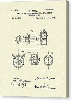 Tesla Radio Transmitter 1896 Patent Art Canvas Print by Prior Art Design