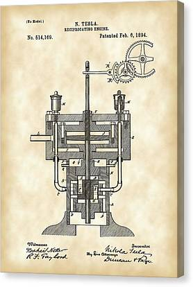 Tesla Reciprocating Engine Patent 1894 - Vintage Canvas Print