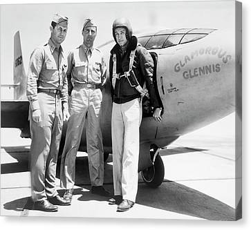 Test Pilots And Bell X-1 Canvas Print by Underwood Archives