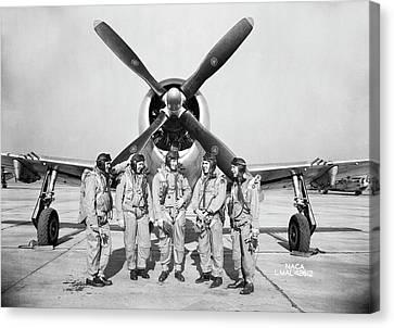 Test Pilots And P-47 Thunderbolt Canvas Print by Nasa
