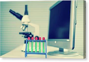 Laboratory Equipment Canvas Print - Test Tubes And Computer by Wladimir Bulgar