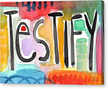 Testify Greeting Card- Colorful Painting Canvas Print by Linda Woods