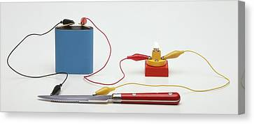 Testing For Conductivity Using A Battery Canvas Print