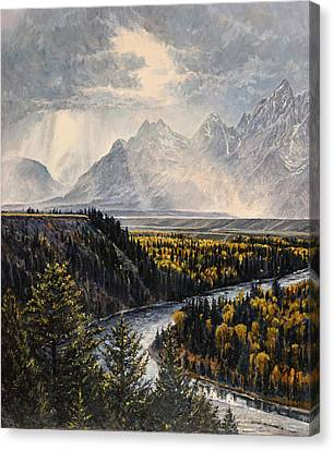 Canvas Print featuring the painting Teton Illumination by Steve Spencer
