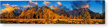 Teton Mountain View Panorama Canvas Print by Greg Norrell