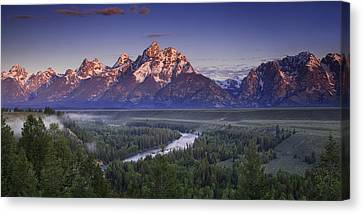 Teton Panorama Canvas Print by Andrew Soundarajan
