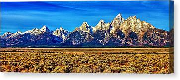 Canvas Print featuring the photograph Teton Panorama by Benjamin Yeager