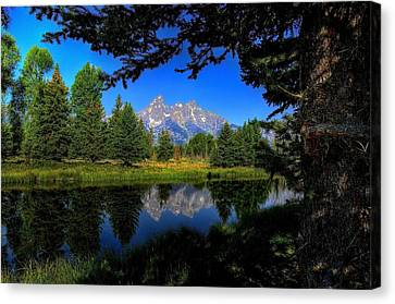 Canvas Print featuring the photograph Teton Reflection by Yeates Photography