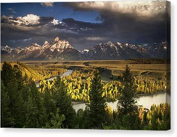Teton Shadow Play Canvas Print by Andrew Soundarajan