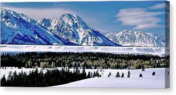 Teton Valley Winter Grand Teton National Park Canvas Print by Ed  Riche