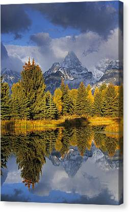 Tetons And Pond Canvas Print