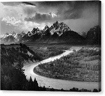Tetons And The Snake River Canvas Print by Ansel Adams
