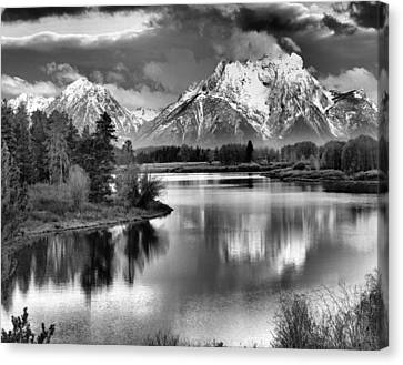 Tetons In Black And White Canvas Print by Dan Sproul