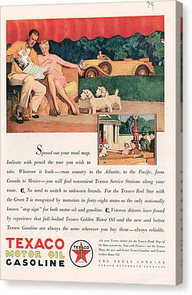 Texaco 1929 1920s Usa Cc Oil Gas Petrol Canvas Print by The Advertising Archives