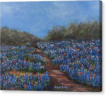 Texas Blue Bonnets Hill Country Trail Canvas Print by Nancy LaMay