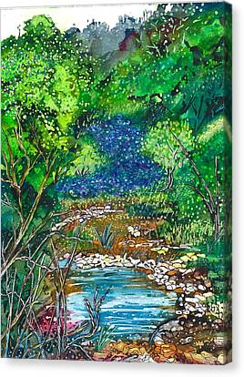 Texas Bluebonnets And Sparkling Stream Canvas Print by M E Wood