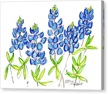Texas Bluebonnets Watercolor Painting By Kmcelwaine Canvas Print