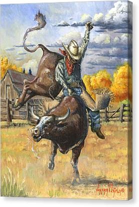 Texas Bull Rider Canvas Print by Jeff Brimley