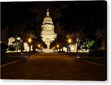 Canvas Print featuring the photograph Texas Capitol At Night by Dave Files