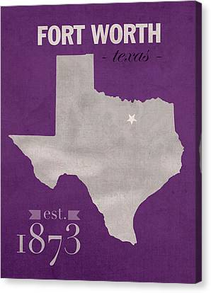 Texas Christian University Tcu Horned Frogs Fort Worth College Town State Map Poster Series No 107 Canvas Print by Design Turnpike