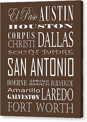 Texas Cities On Brown Canvas Print by Debbie Karnes