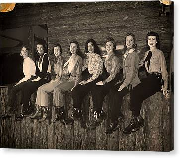 Texas Cowgirls 1950s Canvas Print by Mountain Dreams