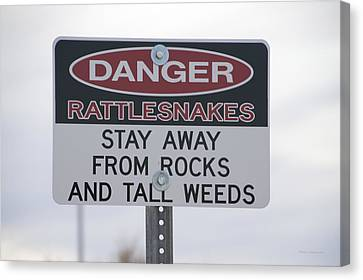 Texas Danger Rattle Snakes Signage Canvas Print by Thomas Woolworth
