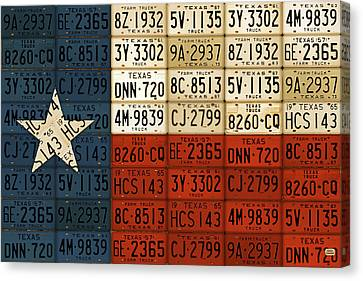 Dallas Canvas Print - Texas Flag The Lone Star State License Plate Art by Design Turnpike
