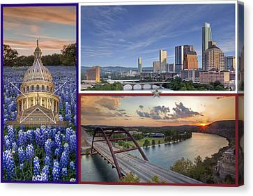 Texas Flag With Bluebonnets The State Capitol The Austin Skyline And 360 Bridge Canvas Print