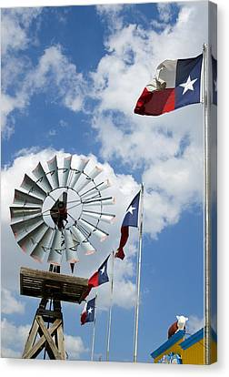 Texas Flags And Windmill Canvas Print