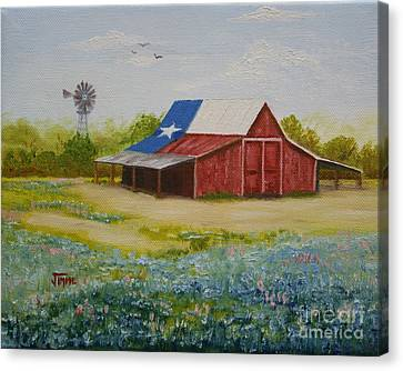 Canvas Print featuring the painting Texas Hill Country Barn by Jimmie Bartlett