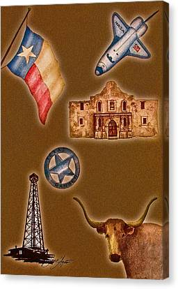 Texas Icons Poster By Sant'agata Canvas Print by Frank SantAgata
